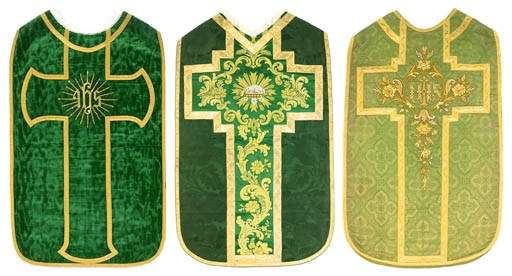 A FRENCH CHASUBLE OF EMERALD G
