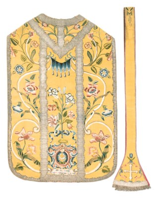 A FRENCH CHASUBLE EMBROIDERED
