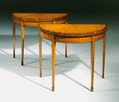 A PAIR OF SATINWOOD CARD-TABLE