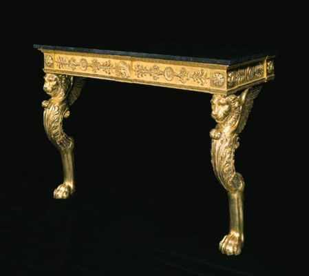 A GILTWOOD CONSOLE TABLE