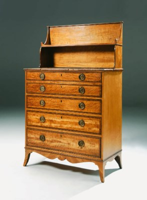 A GEORGE III SATINWOOD SECRETA