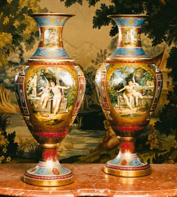 A pair of Vienna-style porcela