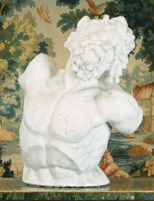A white marble bust of Laocoon