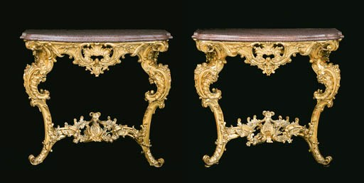 A pair of giltwood and porphyr
