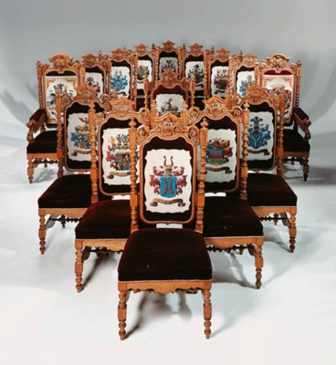 A set of fifteen German carved