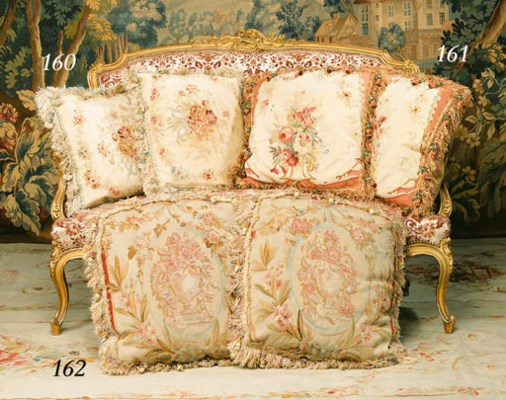 A pair of Aubusson tapestry cu