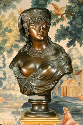 A French bronze bust of an Egy