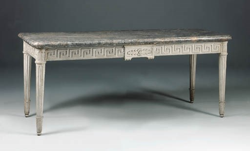 A GREY-PAINTED CENTRE TABLE