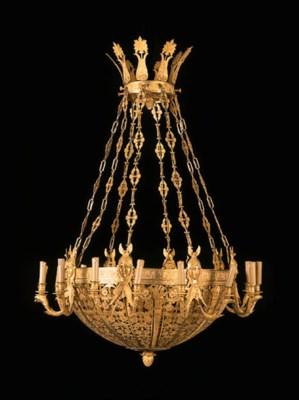 A PAIR OF ORMOLU SIXTEEN-LIGHT