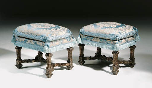 A PAIR OF SILVERED STOOLS