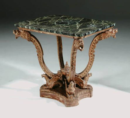 A GERMAN GILTWOOD CENTRE TABLE
