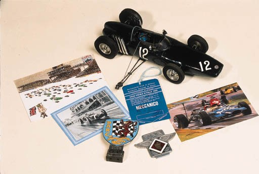 Two racing club car badges; Ju