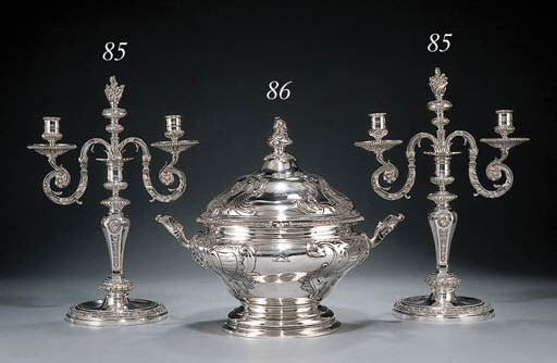 A pair of silver-plated two-li