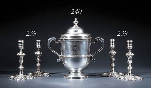 Two pairs of George II silver