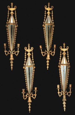 A SET OF FOUR GILTWOOD TWO-LIG