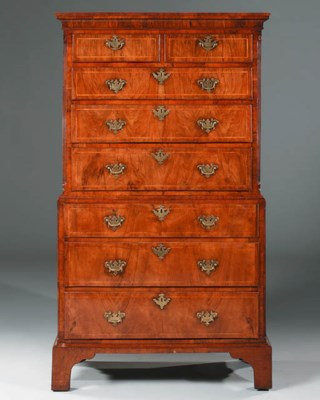 A GEORGE II WALNUT TALLBOY