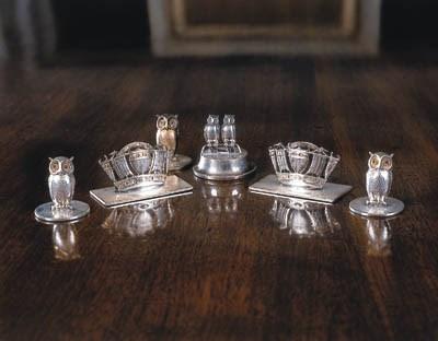 Six silver various menu holder