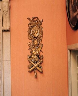 A PAIR OF GILTWOOD MARTIAL TRO