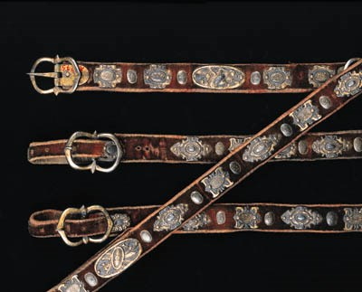 FOUR STRAPS FROM A HORSE HARNE