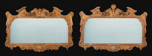 A PAIR OF GILTWOOD OVERMANTEL