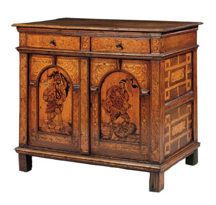 A GERMAN OAK AND  MARQUETRY SI