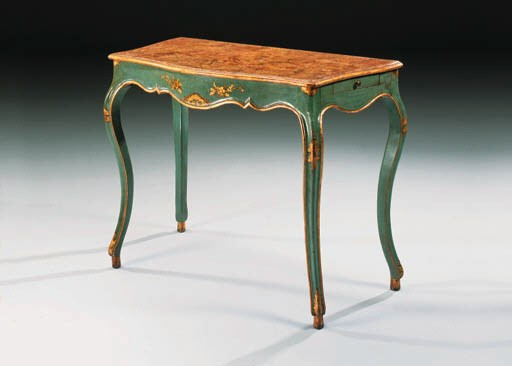 A GENOESE BLUE-PAINTED AND GIL