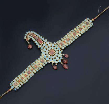 A TURQUOISE AND SPINEL SARPECH