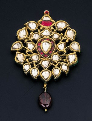 A DIAMOND, RUBY AND ENAMEL PEN