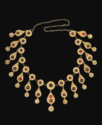 A QAJAR INSET GOLD NECKLACE