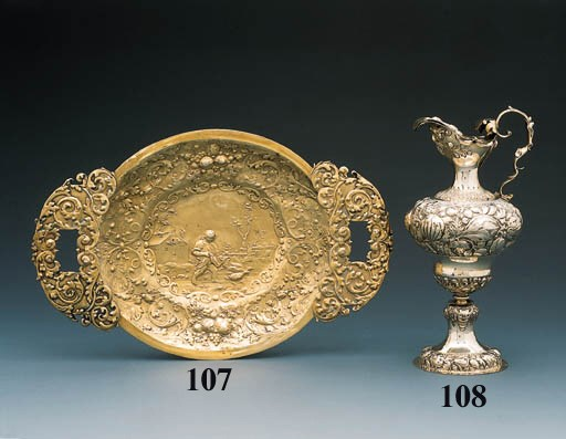 A German silver-gilt dish