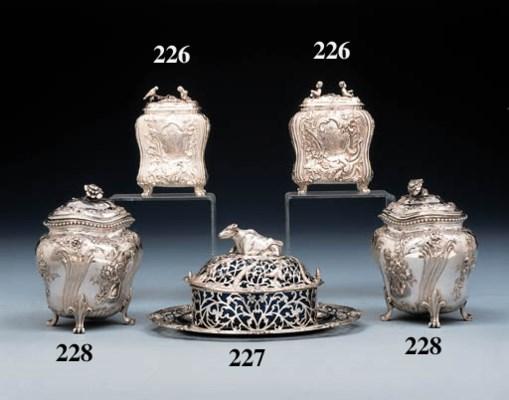 Two George II silver tea-caddi