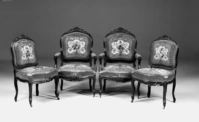 A pair of Napoleon III ebonise