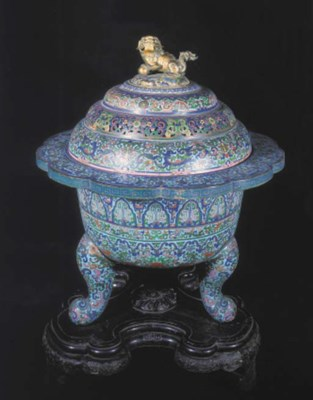 A large Chinese cloisonne trip