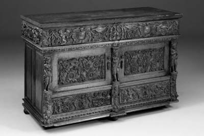 A carved oak cabinet, 19th cen