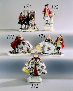 A German porcelain group of 'T