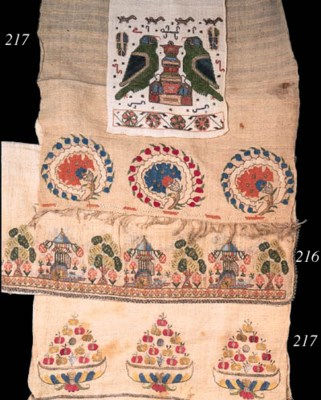 A linen towel embroidered with