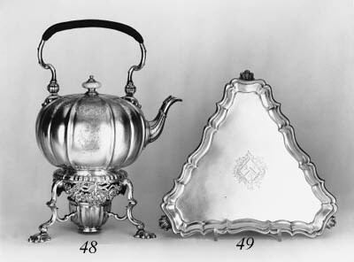 A George II kettle on stand,