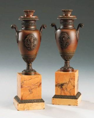 A pair of Restauration bronze