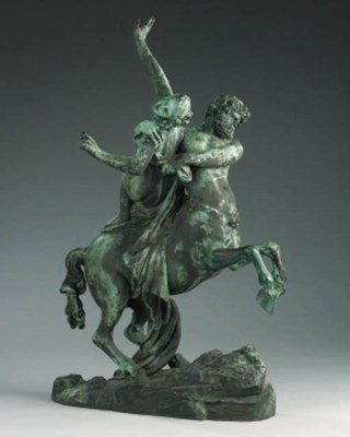 A French bronze group of Nessu