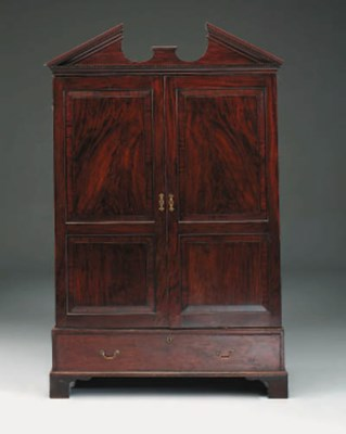 A George II mahogany wardrobe