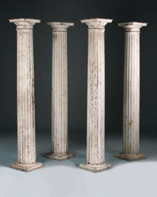 A set of four white painted wo