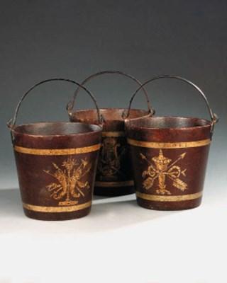 Three French papier mch bucket