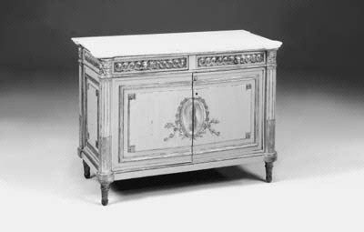 A grey painted and parcel gilt