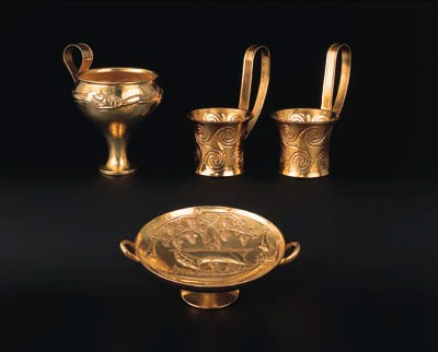 A group of four Greek silver-g