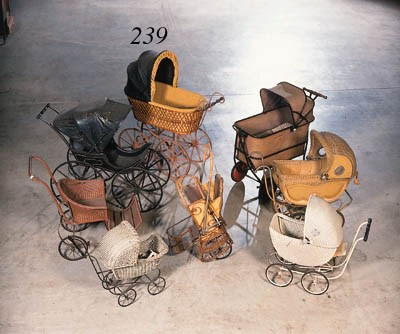 A wickerwork baby carriage hav