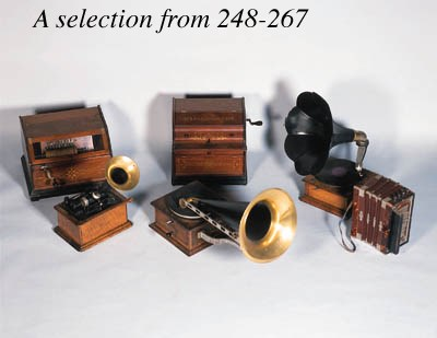 An oak cased horn gramaphone;