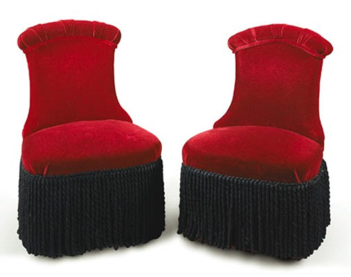 A PAIR OF UPHOLSTERED CONVERSA