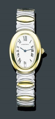 A LADY'S 18K GOLD AND STAINLES