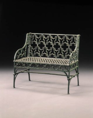 A GOTHIC REVIVAL GREEN-PAINTED