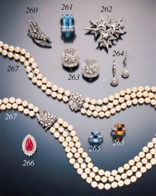 TWO DIAMOND AND GEMSTONE RINGS